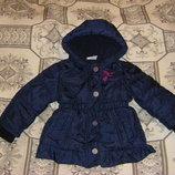 Куртка-Ветровка, теплая синяя Тополино на флисе девочке, рост 86-98