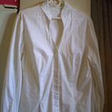 белая классическая блузка, хлопок с эластаном, р.М