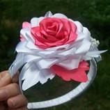 Бело-Кораловый ободок с розой и браслет