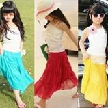 Макси юбки с шифона для девочек в наличии голубая и жёлтая