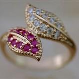 Волшебное ажурное кольцо с натуральными рубинами