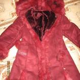 Дубленка, зимнее пальто для девочки от 6 до 8 лет