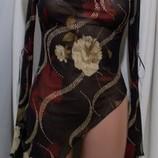 Блуза шифоновая асимметричная цветочный принт 44-46р