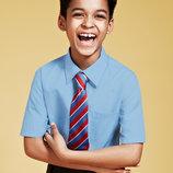 Рубашки в школу, Marks&Spencer, белые и голубые, с длинным, коротким рукавом, Slim fit, Regular fit.