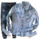 легкая джинсовая рубашка размер 44-46