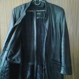 Черный кожаный плащ пальто , размер S, M