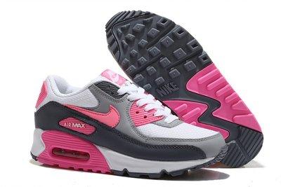 Женские кроссовки Nike Air Max 90 - серо-белые розовый