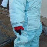 Курточка и полукомбинезон, осень или на теплую зиму, р. 80,86,92 рукавички