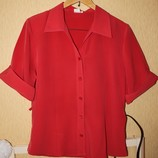 Кораловая блуза блузка с коротким рукавом укр.50-52 размер, как новая