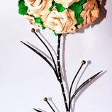 Топиарий. Бежевые розы из фома на подсвечнике.