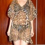Легкая блуза р-р S-M, леопардовая пляжная туника, блузка с пайетками