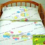 Постель для садика, в кроватку, постельное белье-Паровозик
