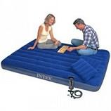 Матрас надувной Intex 68765 152 х 203 см 2 подушки насос .