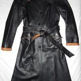 Стильное демисезонное кожаное пальто First City. Размер 46 M .