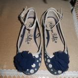Туфли балетки для девочки тканевые синие в горошек George 20 см стелька