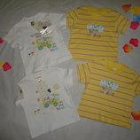 Комплект новых футболок на мальчика 3-6мес