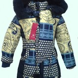 зимнее пальто с шарфом для девочки