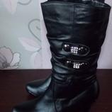Кожаные черные полусапоги на каблуке Днепропетровск - 40 размер.Новые