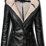 Женская куртка-косуха ,стильная зимняя куртка из кожзам ,зимняя женская куртка,