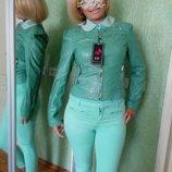 Кожаная Зеленая Мятная Куртка С Шипами Заклепками эко кожа
