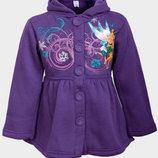 Пальто с капюшоном весна-осень для девочек Дисней фиолетовое на 3-5 лет