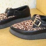 Стильные туфельки с леопардовыми вставками, 23 см