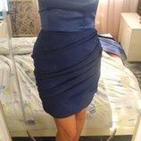 Платье синее электрик вечернее нарядное бандо М или 44