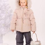 Зимняя куртка с натуральным мехом Ваниль Тм Модный карапуз 98-116