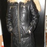 Пальто мех-кожа