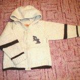 Теплый свитер с капюшоном на рост 90 см, 80% шерсть ламы Тм DrKid, Португалия