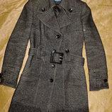 Деми пальто 80% шерсть, S-M, б/у