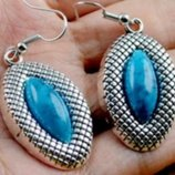 Супер Комплект из Бирюзы Серьги-подвески Кулон- Тибетское серебро