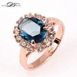 Кольцо Austrian Blue Crystal 18K покрытие золотом