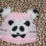 Теплая шапка для девочки панда