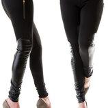Стильные женские лосины с кожаными вставками Сапожки Змейки .