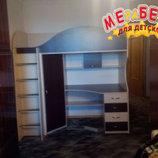 Кровать-Чердак с рабочей зоной и угловым шкафом к5 Merabel