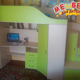 Кровать-Чердак с рабочей зоной, угловым шкафом и лестницей-тумбой кт1 Merabel