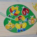 Деревянная игрушка Шнуровка насекомые 6шт формат А4