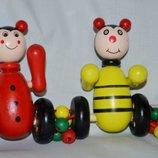 Деревянная игрушка Каталка каталочка для малышей Животные