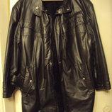 Куртка удлинённая, плащ кожзам на меху с поясом чёрная зимняя р.50-52