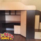 Кровать-Чердак с рабочей зоной, угловым шкафом и лестницей-тумбой кт2 Merabel