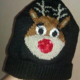 Прикольная зимняя шапка с лосиком