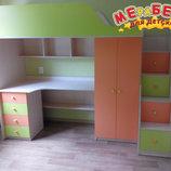 Кровать-Чердак с рабочей зоной, шкафом и лестницей-комодом кл5 Merabel