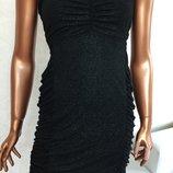 Коктейльное черное с блестящей нитью платье резинка бренд р.lновое