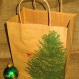 Новогодние пакеты из крафта с ёлочкой