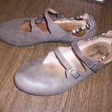 Рр 38 - 25,2 см Стильные удобные туфли балетки Think Кожа