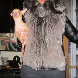 куртка кожа и чернобурка , трансформер