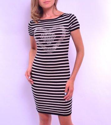 a65afaf8edb9071 Платье в полоску из вязаного трикотажа, короткий рукав. Италия: 360 ...