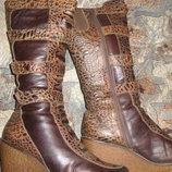 Зимние кожаные сапоги, мех-цигейка