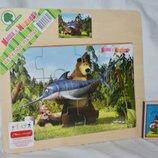 Деревянная игрушка Пазлы Маша и Медведь разные